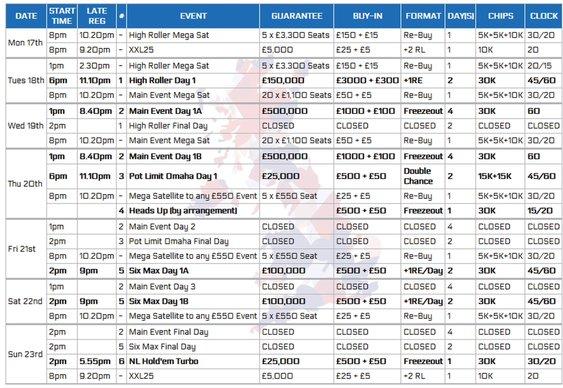 UKPC Schedule