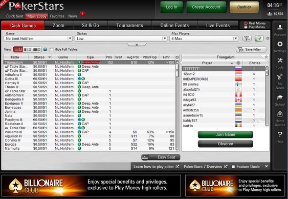 PokerStars Lobby