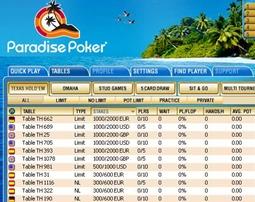 Paradise Poker Lobby