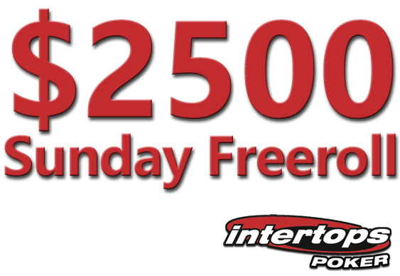 $2,500 Freeroll at Intertops on Sunday