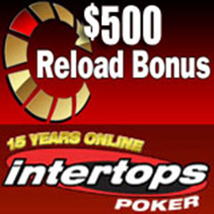 $500 reload bonus at Intertops Poker this weekend